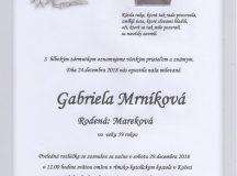 Smútočné oznámenie Gabriela Mrníková
