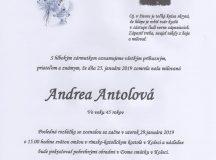Smútočné oznámenie Andrea Antolová