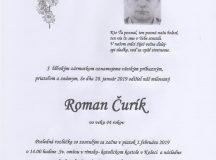 Smútočné oznámenie Roman Čurík