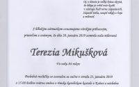 Smútočné oznámenie Terézia Mikušková