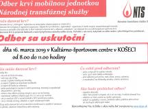 Odber krvi mobilnou jednotkou NTS v Košeci dňa 16. 3. 2019