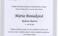 Smútočné oznámenie Mária Beniaková