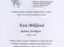 Smútočné oznámenie Eva Miklová
