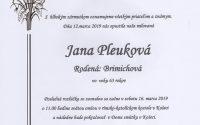 Smútočné oznámenie Jana Pleuková