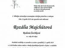 Smútočné oznámenie Rozália Majchútová