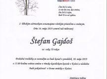 Smútočné oznámenie Štefan Gajdoš