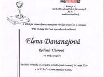 Smútočné oznámenie Elena Dananajová