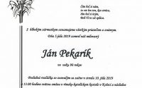 Smútočné oznámenie – Ján Pekarík