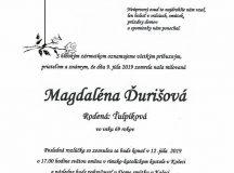 Smútočné oznámenie Magdaléna Ďurišová, rod. Ťulpíková