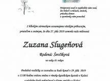 Smútočné oznámenie Zuzana Slugeňová, rod. Ševčíková
