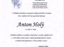 Smútočné oznámenie – Anton Holý