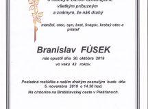Smútočné oznámenie – Branislav Fúsek