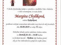 Smútočné oznámenie – Margita Chylíková, rod. Kukučková