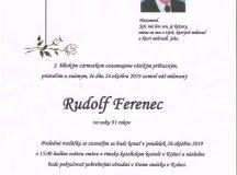 Smútočné oznámenie – Rudolf Ferenec