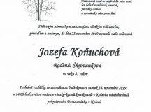 Smútočné oznámenie – Jozefa Koňuchová, rod. Škrovánková