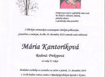 Smútočné oznámenie – Mária Kantoríková, rod. Prekopová