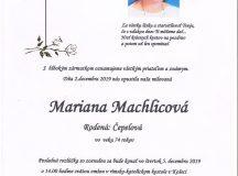 Smútočné oznámenie – Mariana Machlicová, rod. Čepelová