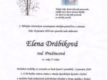 Smútočné oznámenie – Elena Drábiková, rod. Pružincová