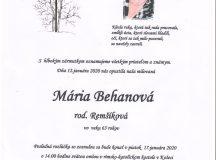 Smútočné oznámenie – Mária Behanová, rod. Remšíková